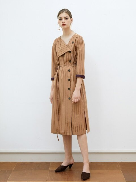 STRIPE UNBALANCE SCARF DRESS