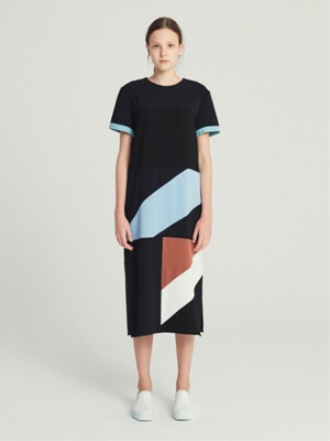 DIAGONAL COLORBLOCK DRESS (NAVY)