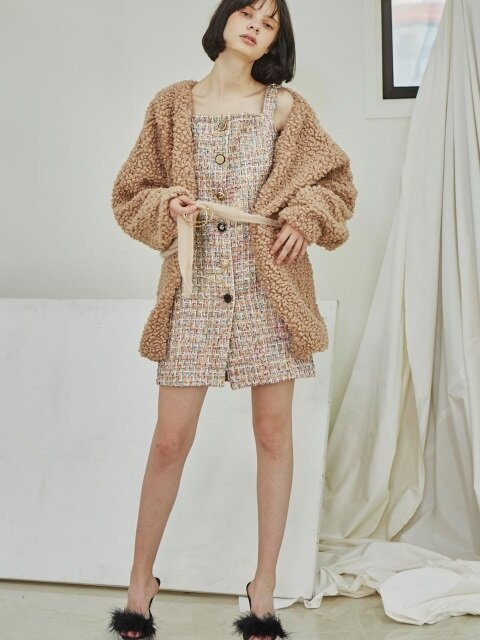 Tweed Strap Dress_Beige