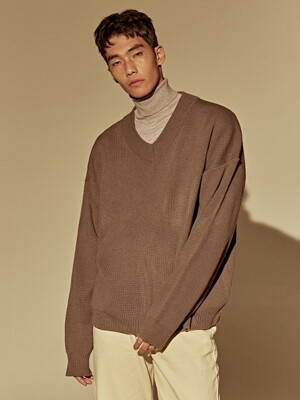 OVER DROP V SWEATER_GRAY
