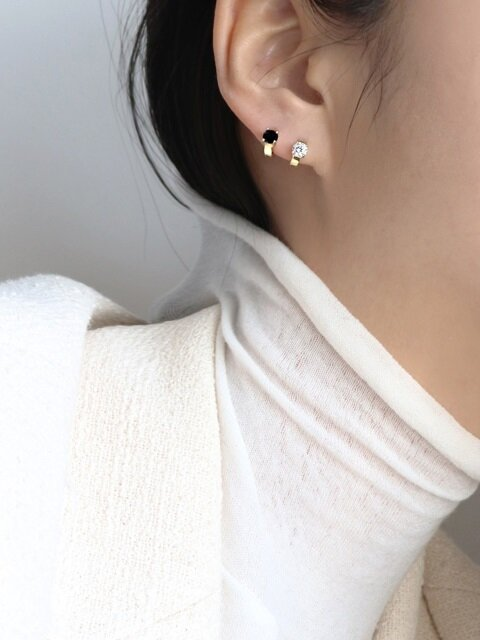 1+1 Cubic one-touch earring [silver92.5]