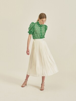 SHINING DOT PLEATS SKIRT_IVORY