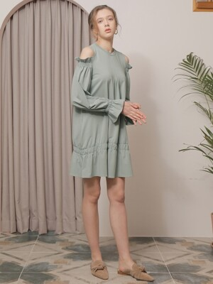 SHIRRING OPEN SLEEVE ONE-PIECE_KHAKI