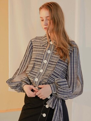 Navy Check Strip Panelled Organza Jacket