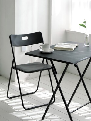Black Town Folding Chair - Square