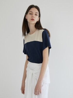 19' SUMMER_Navy&Beige Color Block T-Shirt