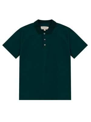 Knit collar polo (cold green)