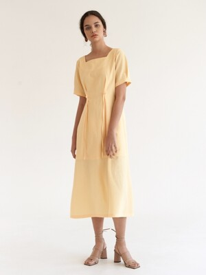 Sqaure Tuck Dress - Yellow