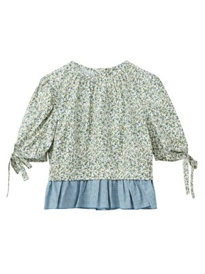 Flower back button blouse - Blue