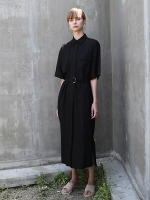 Linen shirt One-piece_Black