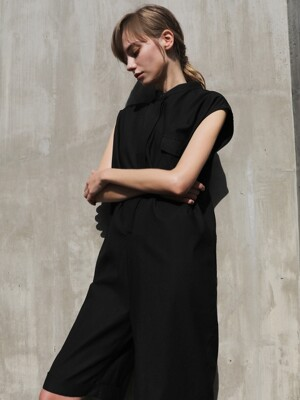 Mandarin short jumpsuit_Black