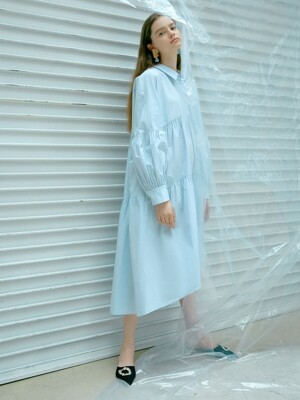 Volume Shirts Dress in Sky Blue