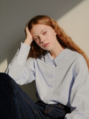 19' FALL_Blue Stripe Oersized Shirt