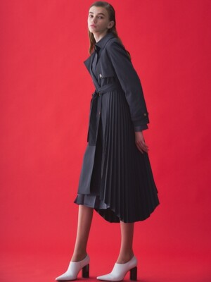 TRENCH PLEATS COAT_NAVY