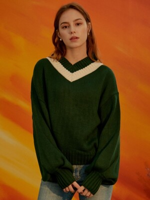 iuw465 ballon-sleeved v-neck knit (green)