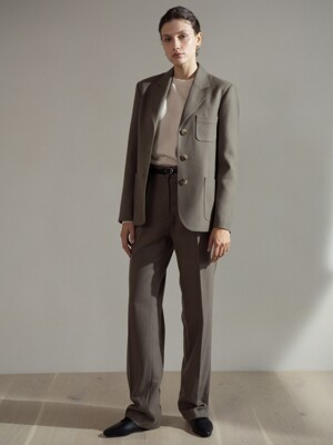 Light wool slacks (set-up) (Sand khaki)