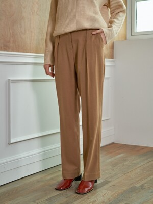 wool semi-wide pant - beige