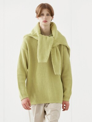 MERINO ROUND KNIT_YELLOW GREEN