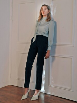 front-slit straight pants
