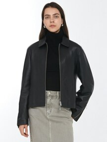 [단독] UNISEX ZIPPED SLEEVES LAMBSKIN SINGLE JACKET BLACK UDJU0F101BK