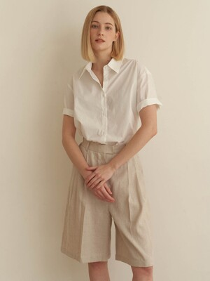Half cotton shirt - white