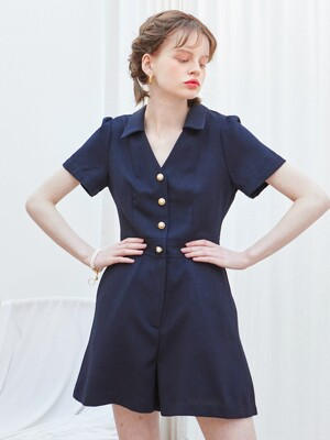 V-neck Shot Jumpsuit_ Navy