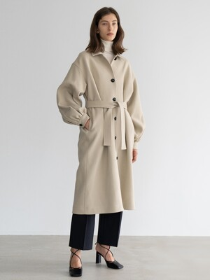 BALLON-SLEEVE WOOL COAT (BEIGE)