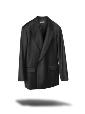 DOUBLE BIG BLAZER JACKET - BLACK