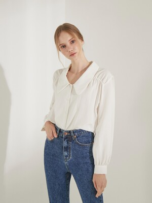 planet-7 roll collar blouse_ivory