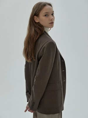 Classic Three Button Jacket [Brown]