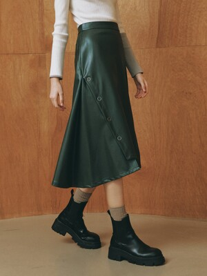 ECO-LEATHER SIDE VENT SKIRT_KHAKI (EETZ4SKR04W)