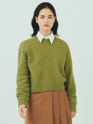 BENSIMON MERINO WOOL CROP KNIT - OLIVE