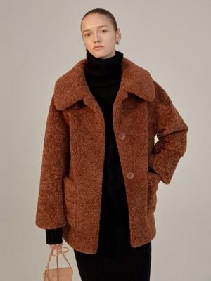 FW20 VECCA REVERSIBLE SHEARING MUSTANG JACKET - BROWN