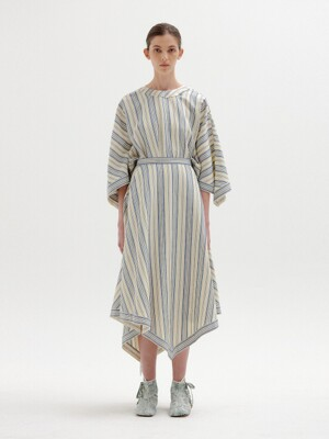 SEAL Asymmetric Hem Skirt - Ivory/Blue Stripe