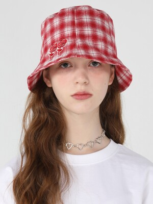 Twin rose check bucket [Red]