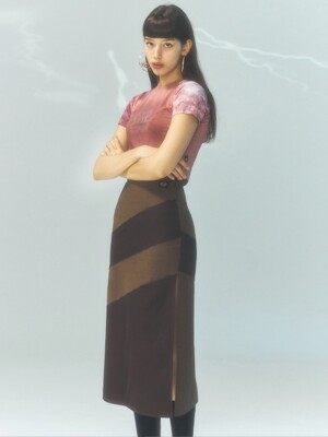 [CITY] Cut Out Slit Long Skirt_BROWN (CTD1)