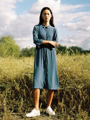 long shirtdress, blue