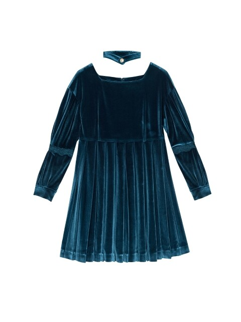 SHINING VELVET MINI DRESS_OCEAN BLUE