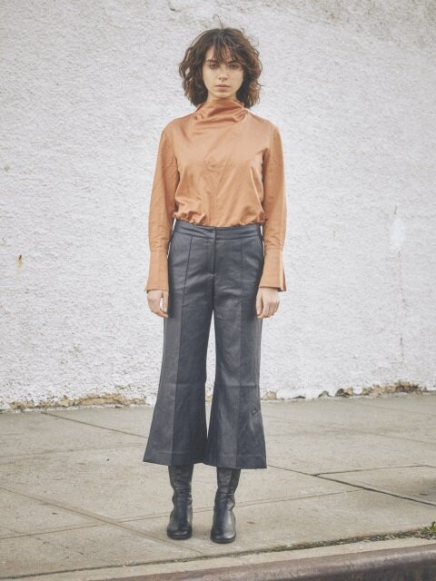 leather patched flare pants