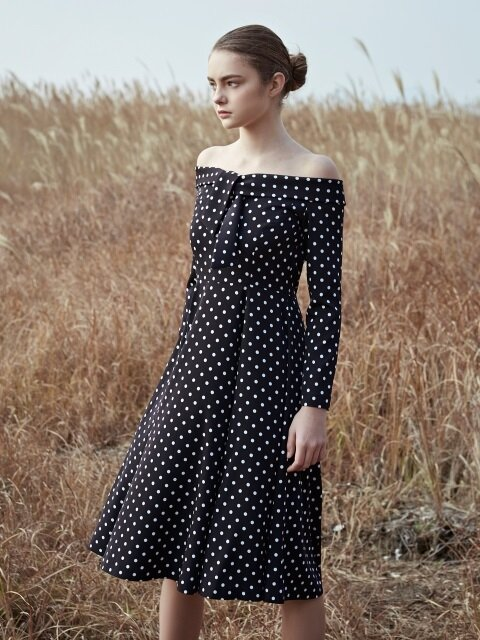 Black polka dot off the shoulder dress