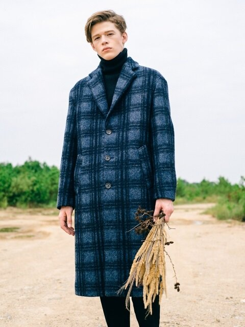 Blue Check Single Wool Coat