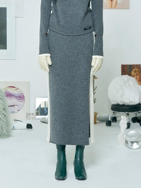 COLORATION KNIT SKIRT [GREY]
