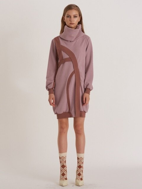 Big Turtle-Neck Structural Bubble Knit Dress_ELDERBERRY-PINK