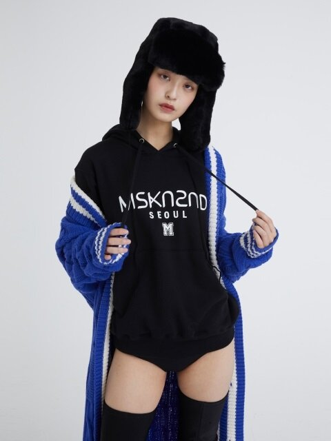 MSKN2ND LOGO PRINTED HOODY BLACK