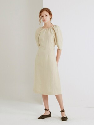 GATHERED LINEN-BLEND DRESS (BEIGE)