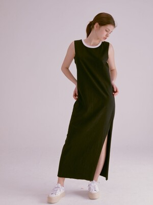 COLOR NECK RAW EDGE MAXI DRESS_BLACK