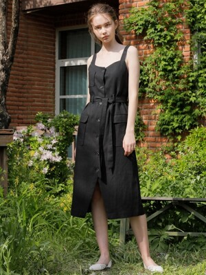 LINEN SLEEVELSS ONE-PIECE_BLACK