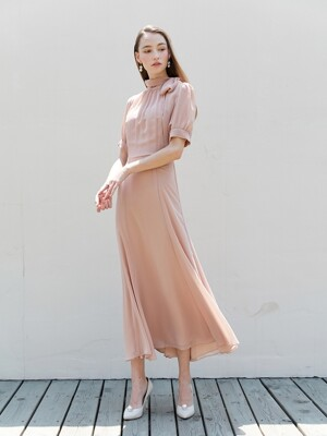 BELLA Bow tie detail short puff-sleeve dress (Nude Pink)