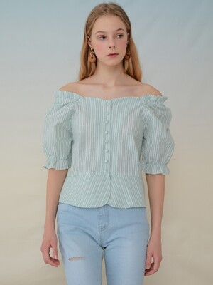 [단독] monts932 shoulder band two-way blouse (mint)