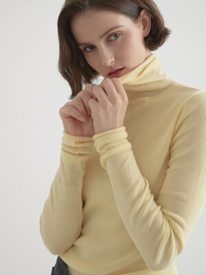 Cashmere blended 16gaze pullover knitwear - Light yellow